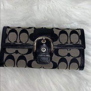 Coach Signature Black Logo Wallet Large